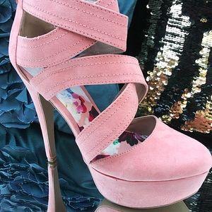 Qupid Heels. Pink w/ straps. Women's Size 9.